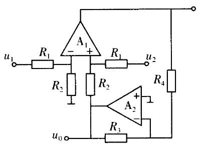 理想运放电路如图所示,若